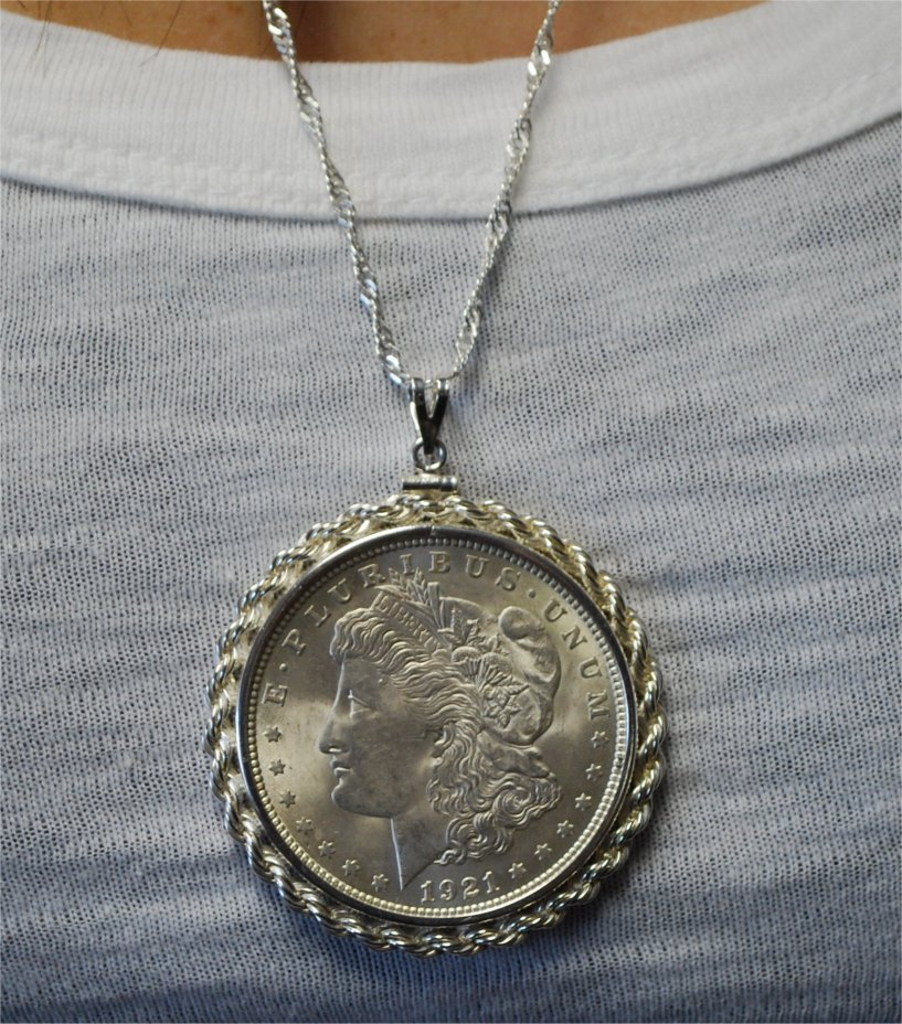 Morgan silver dollar necklace old hilliard coin fine art llc image data mozeypictures Choice Image