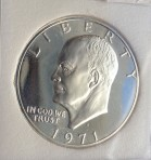 1971-S, Eisenhower Dollar, Silver Proof-70 Cameo, INB 2213139024